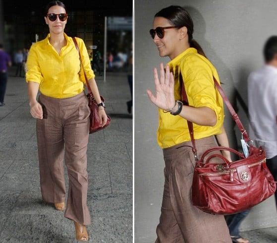 Neha Dhupia In Yellow And Brown