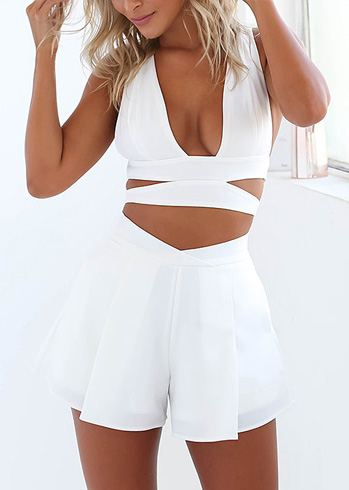 Plunge Cut Out Crop Top And Shorts Coord