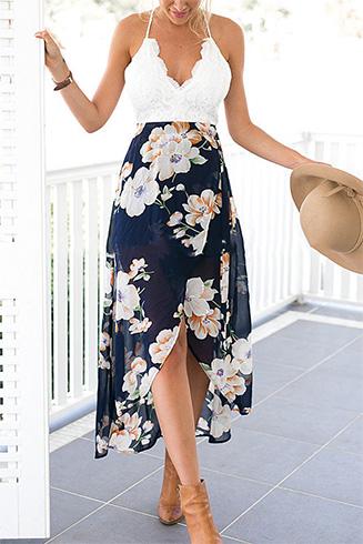 Wrap Front Floral Print Maxi Dress With Lace Details