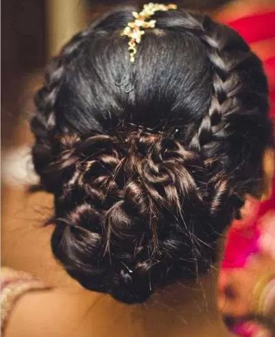 Braided Bun Encircling Crown Area