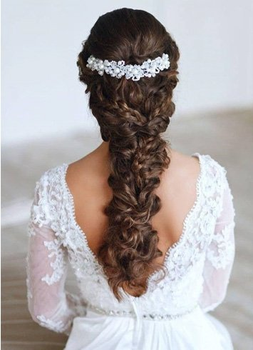 Braided Curly Wedding Hairstyle