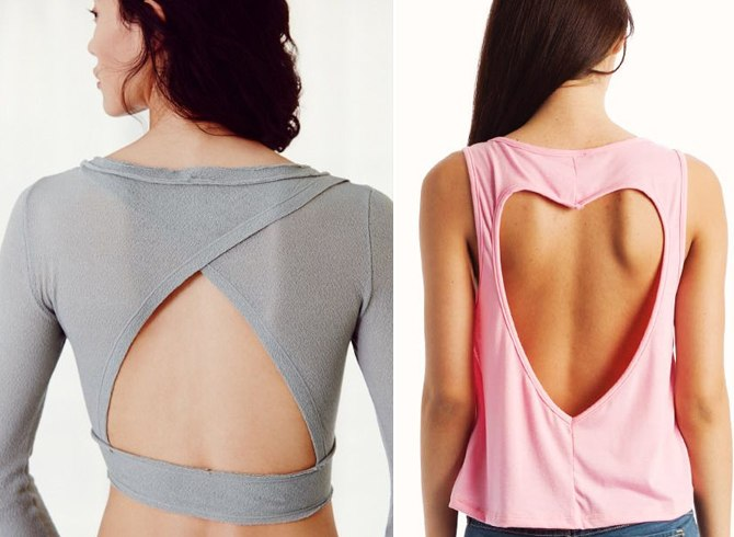 Cut out back tops
