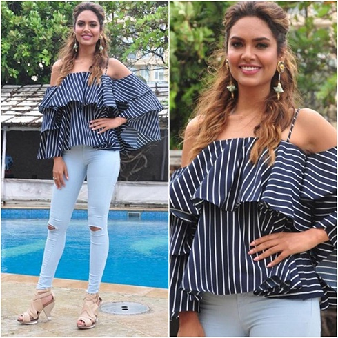 Esha Gupta Madison off-shoulder top