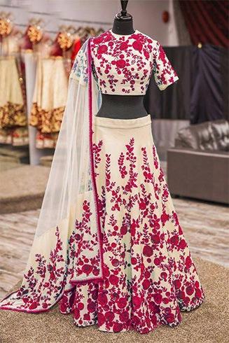 Cream and Red Bhagalpuri Silk Work Lehenga Choli