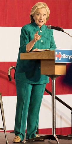 Hillary Clinton Green Pant Suit