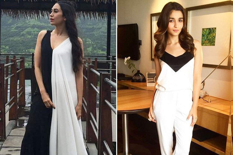 Karisma Kapoor And Alia Bhatt In White And Black Combination