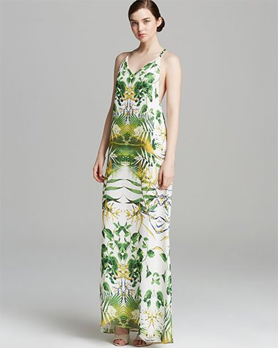 Long Printed Tropical Dress