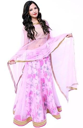 Pink and Golden Designer Lehenga