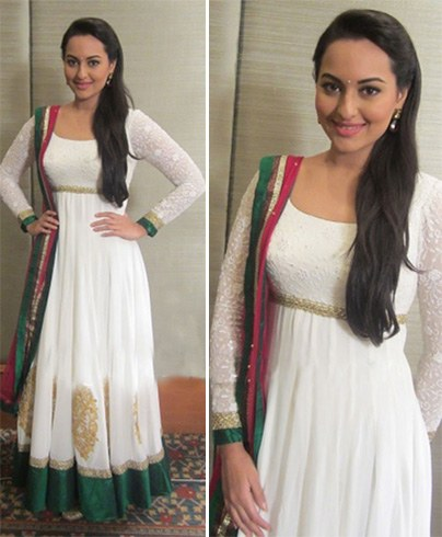 White and Green Anarkali suit