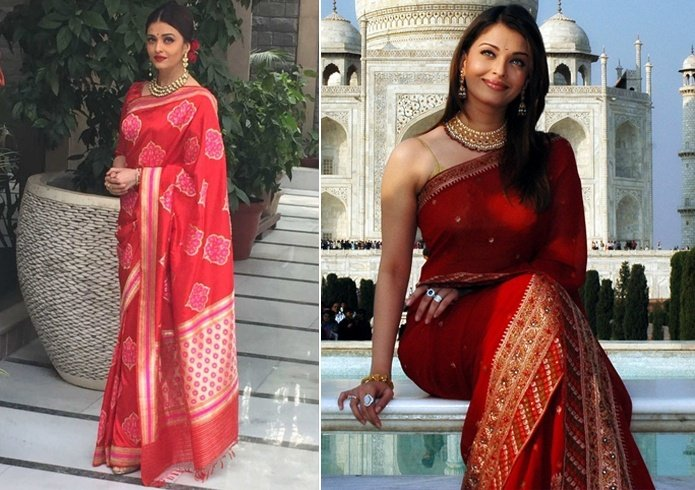 Aishwarya Rai Bachchan Red Saree
