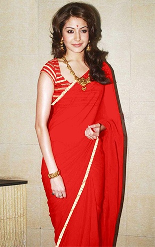 Anushka Sharma Red Saree