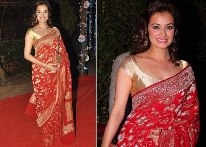 Dia Mirza in Red Saree