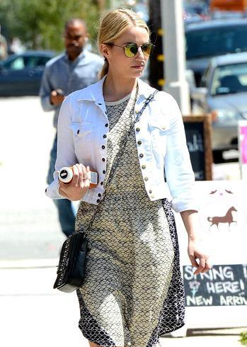Dianna Argon looks cool and composed in her short dress and denim jacket