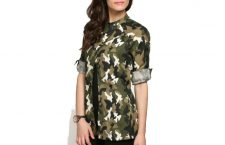 Olive Green-& Brown Camouflage Print Casual Jacket