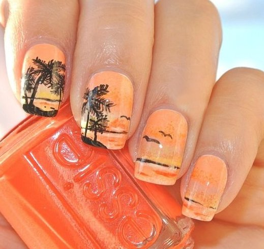 Palm Trees Nail Art