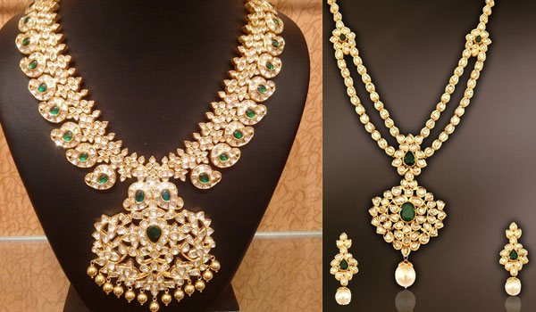 drop necklace with gold pearls set earrings uncut diamond
