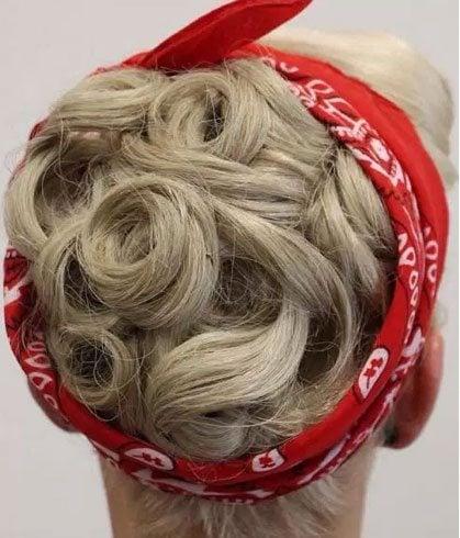 Bandana Wrap With Pin Curls