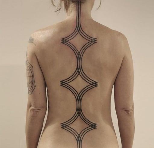 Black Spine Tattoo Design