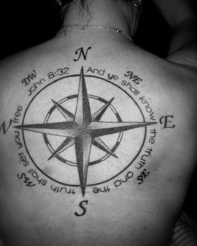 Compass On Spine Tattoo
