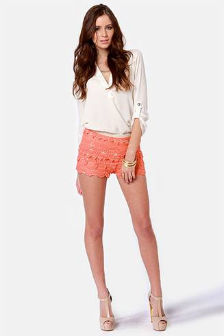 Coral Lace Shorts Style