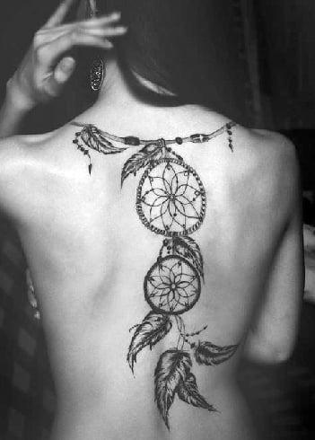 Dreamcatcher Spine Tattoo