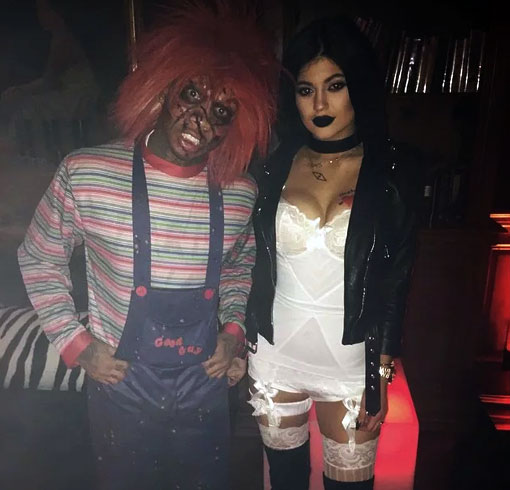 Kylie Jenner and Tyga dressed up as Chucky and his bride