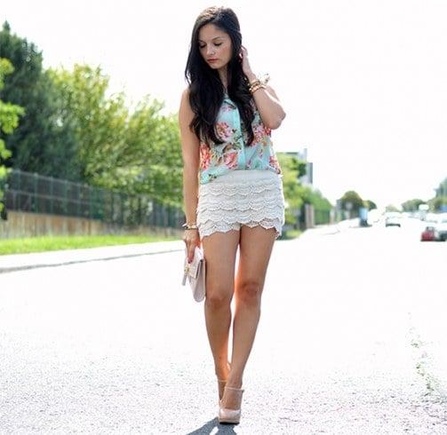 Lace Denim Shorts Style