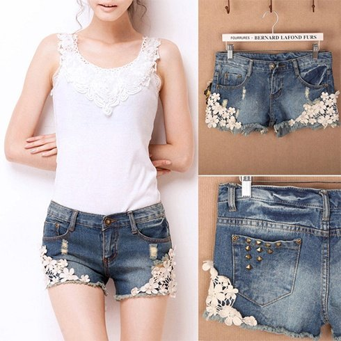 Lace Denim Shorts Styles