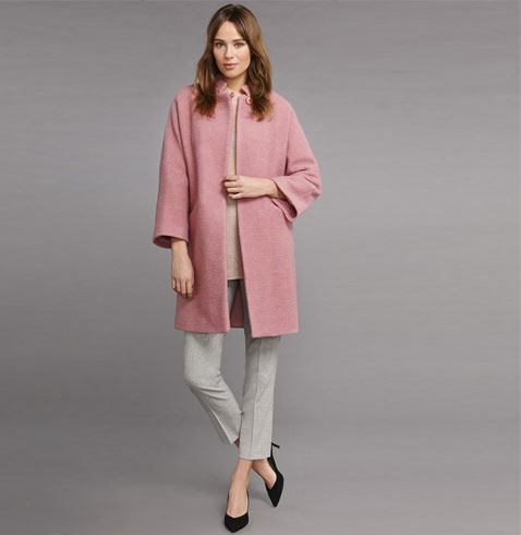 Pink Collarless Casual Coat