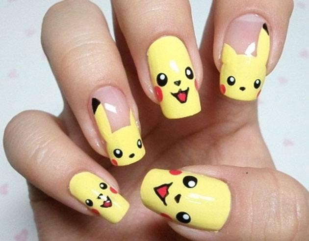 Pokemon themed Emoji Nail Art. - Emoji Nail Art For Phone Addicts