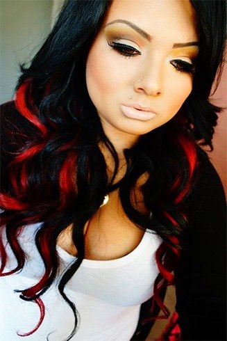 Red And Black Hairstyles For womens