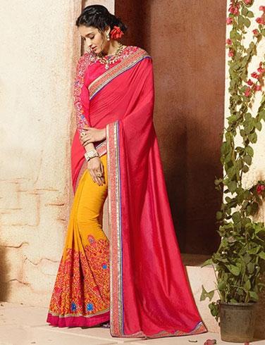 red florel saree