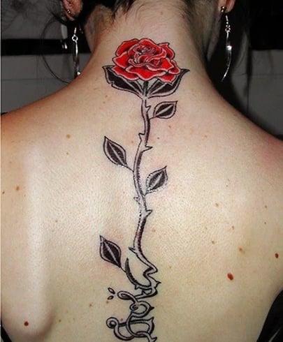 Rose On Spine Tattoo