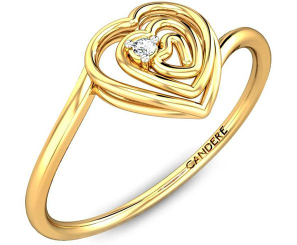 Candere Gold Ring With A Diamond