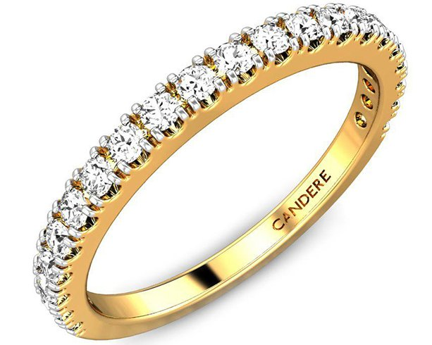 Candere Gold Wedding Ring With Diamonds