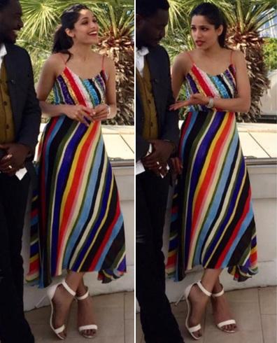 Freida Pinto Stripes Outfit