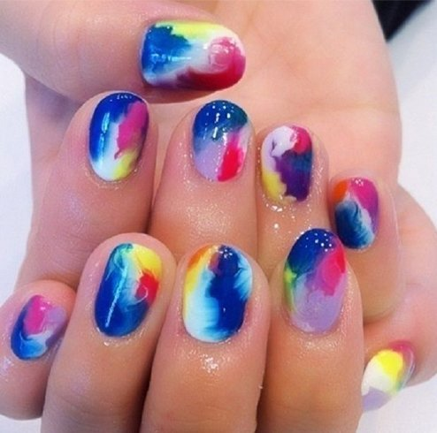 Acrylic Multi-colored Marble Nail Polish