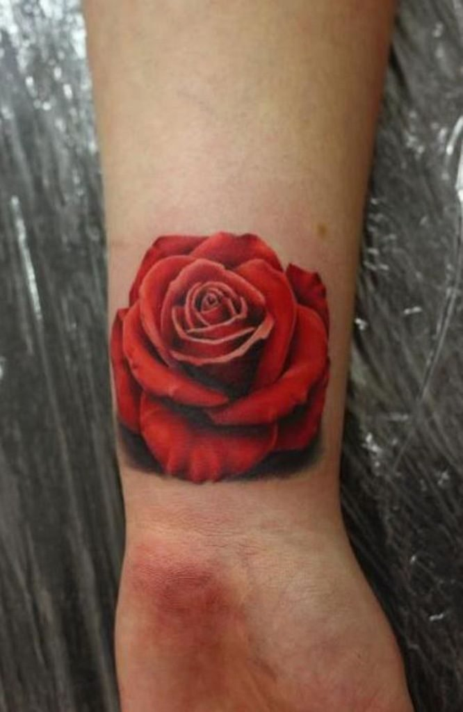 Beautiful Red Rose Tattoo
