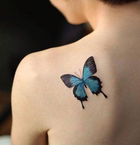 Blue Butterfly Tattoos Design