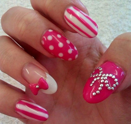 Bow Nail Art For Girls