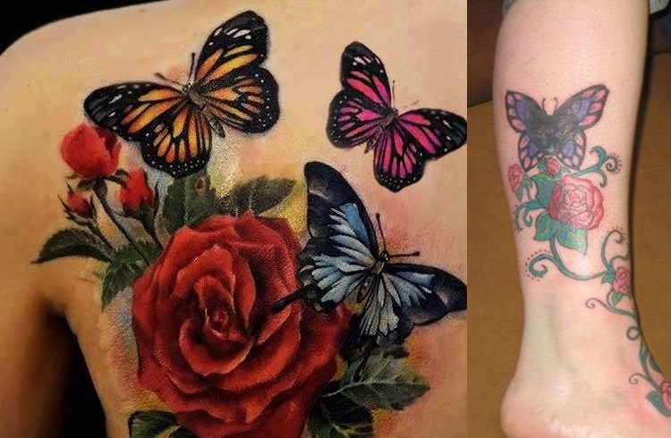 Butterfly And Flower Tattoos
