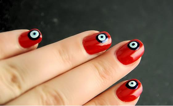 Evil Eye Marble Nail Pattern