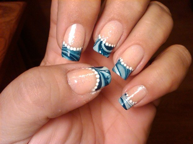 French Manicure Marble Nail Art