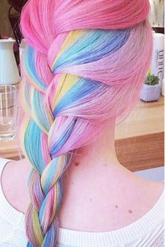 French braid on rainbow hair