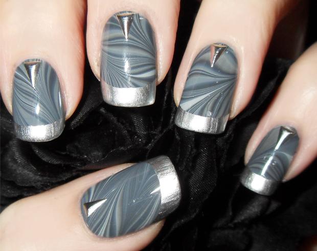 Gray and Silver Marble Nail Art