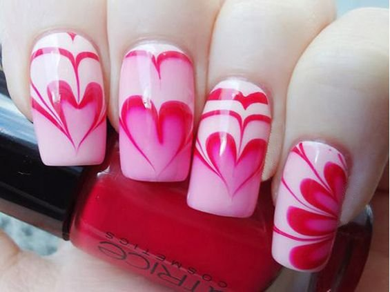 Heart Marble Nails