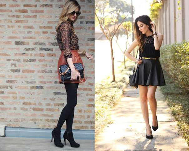 Leather Skater Skirt With Lace Top For Women