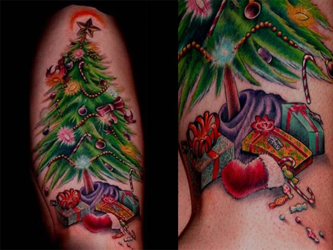 Merry Christmas Tree Tattoo