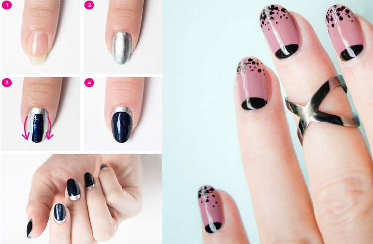 Nail Art Reverse french manicure For Women