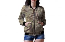 Olive Printed Rayon Bomber Jacket